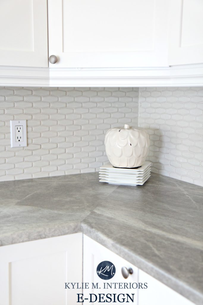 Formica Soapstone Sequoia greige laminate countertop in kitchen with cloud white cabinets. Kylie M E-design