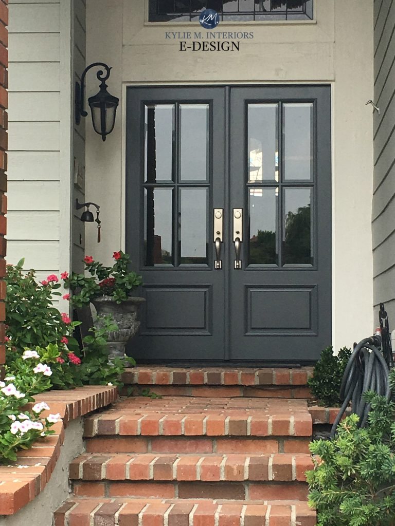Front door Benjamin Moore Charcoal Slate, red brick stairs on exterior. Kylie M INteriors Edesign, online paint color consulting