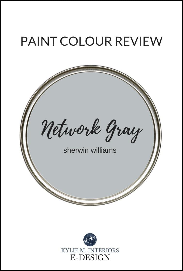 Paint colour review, best gray blue paint colour, Sherwin Williams Network Gray. Kylie M Interiors Edesign, online paint colour consultant