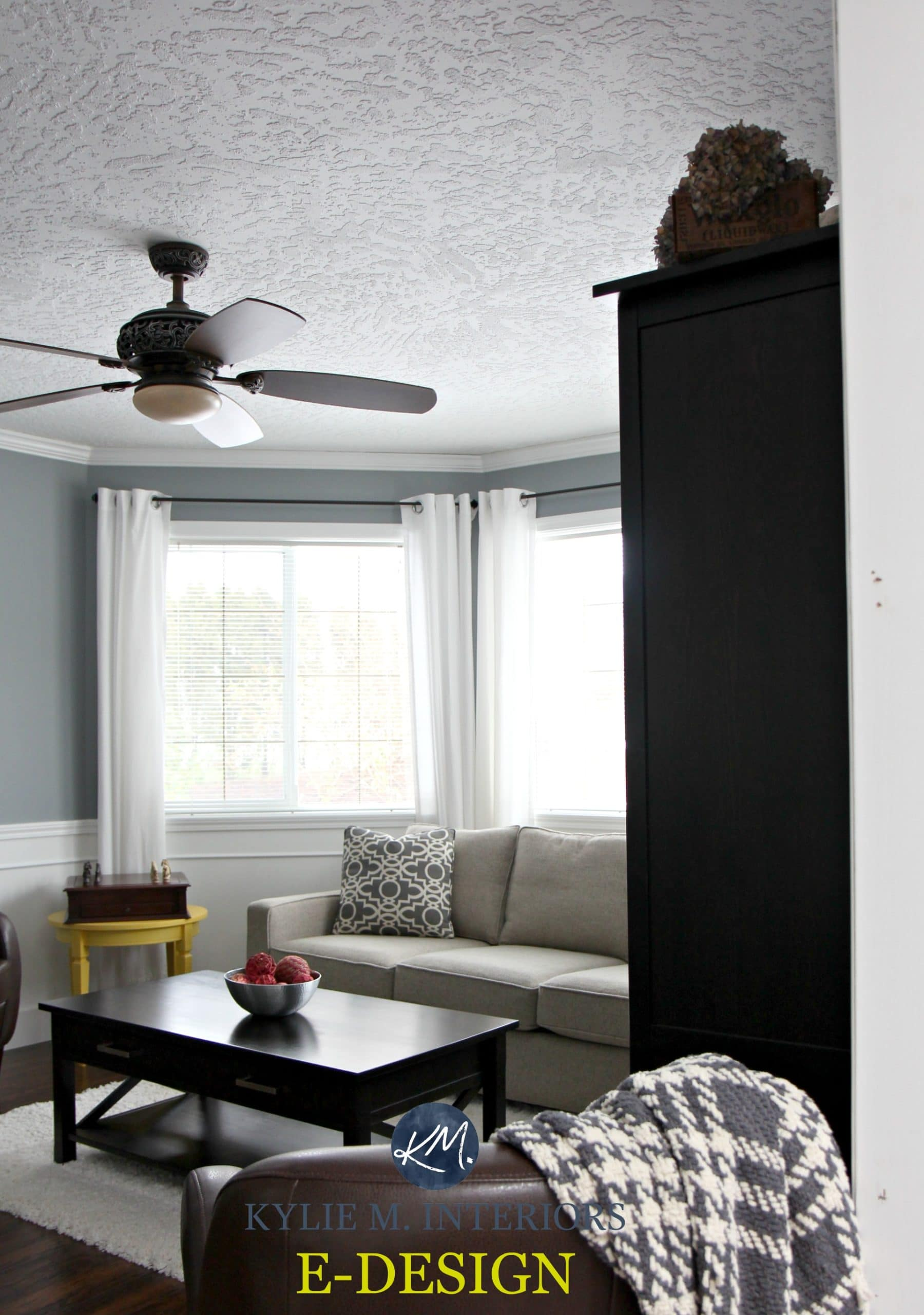 Sherwin Williams Network Gray In Living Room With White
