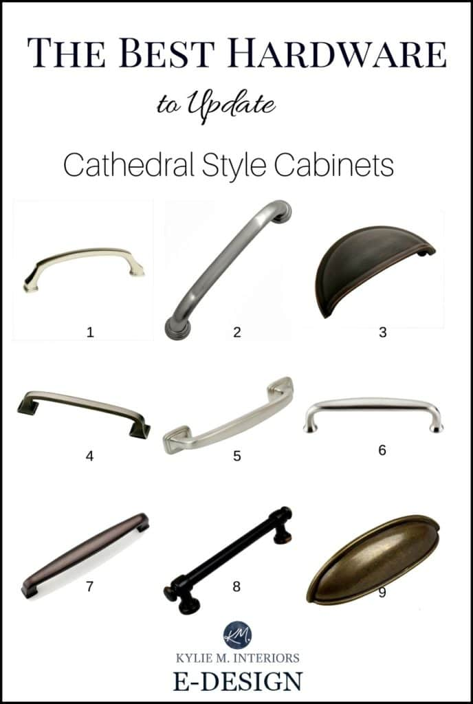 The best cabinet hardware, pulls, to update cathedral style oak or wood cabinets in kitchen. Kylie M INteriors E-design (1)