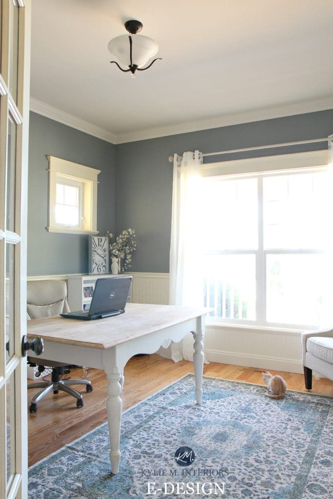 Benjamin Moore Sea Pine, Stonybrook. Home office with white wainscoting, country style. Kylie M E-design, online color consulting