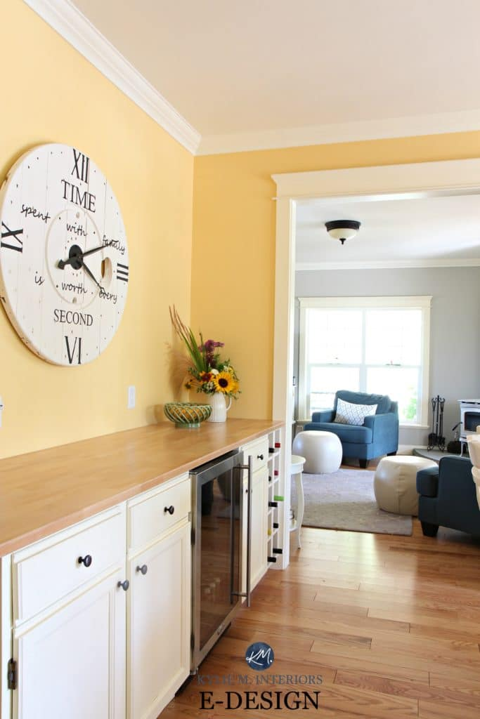 Benjamin Moore Suntan Yellow, Revere Pewter in home bar, beverage station in country style kitchen. KYlie M E-design