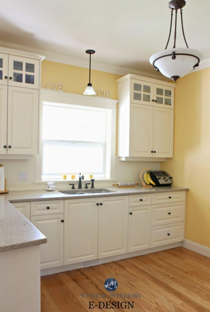 Benjamin Moore Suntan Yellow In Kitchen With Quartz, Painted Cream Oak  Cabinets Similar To White