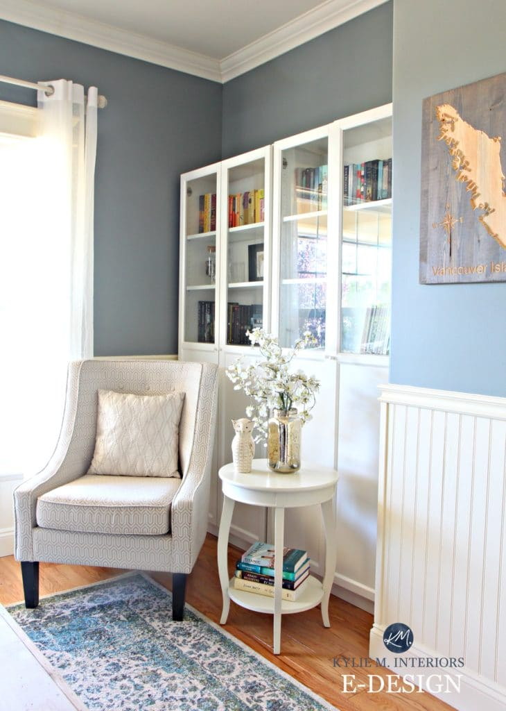 Best blue gray paint colour. Benjamin Moore Sea Pine, Stonybrook, Ikea bookshelves and accent chair. Cream white wainscoting. Kylie M E-design