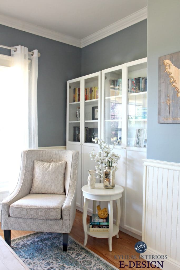 Best blue green paint colour. Benjamin Moore Sea Pine, Stonybrook. Ikea bookcases. Kylie M E-design, colour expert and Online consultant