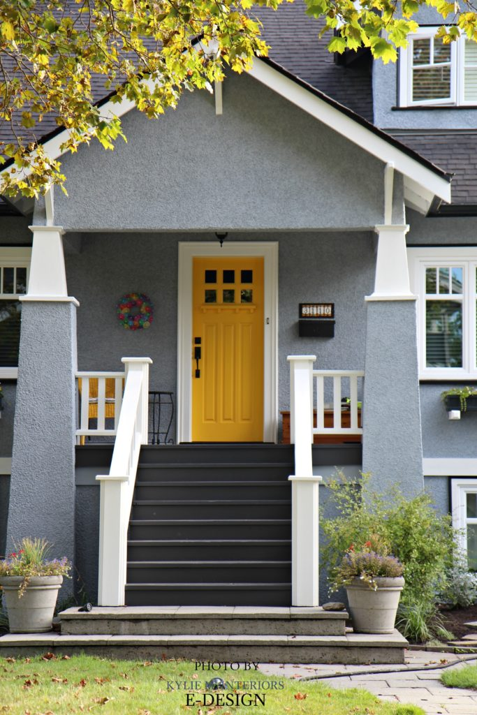Exterior palette similar to Sherwin Williams Rayo de Sol yellow front door. Network Gray siding ,Benjamin Moore Kendall Charcoal front stairs. white trim. PHoto via Kylie M Interiors E-design