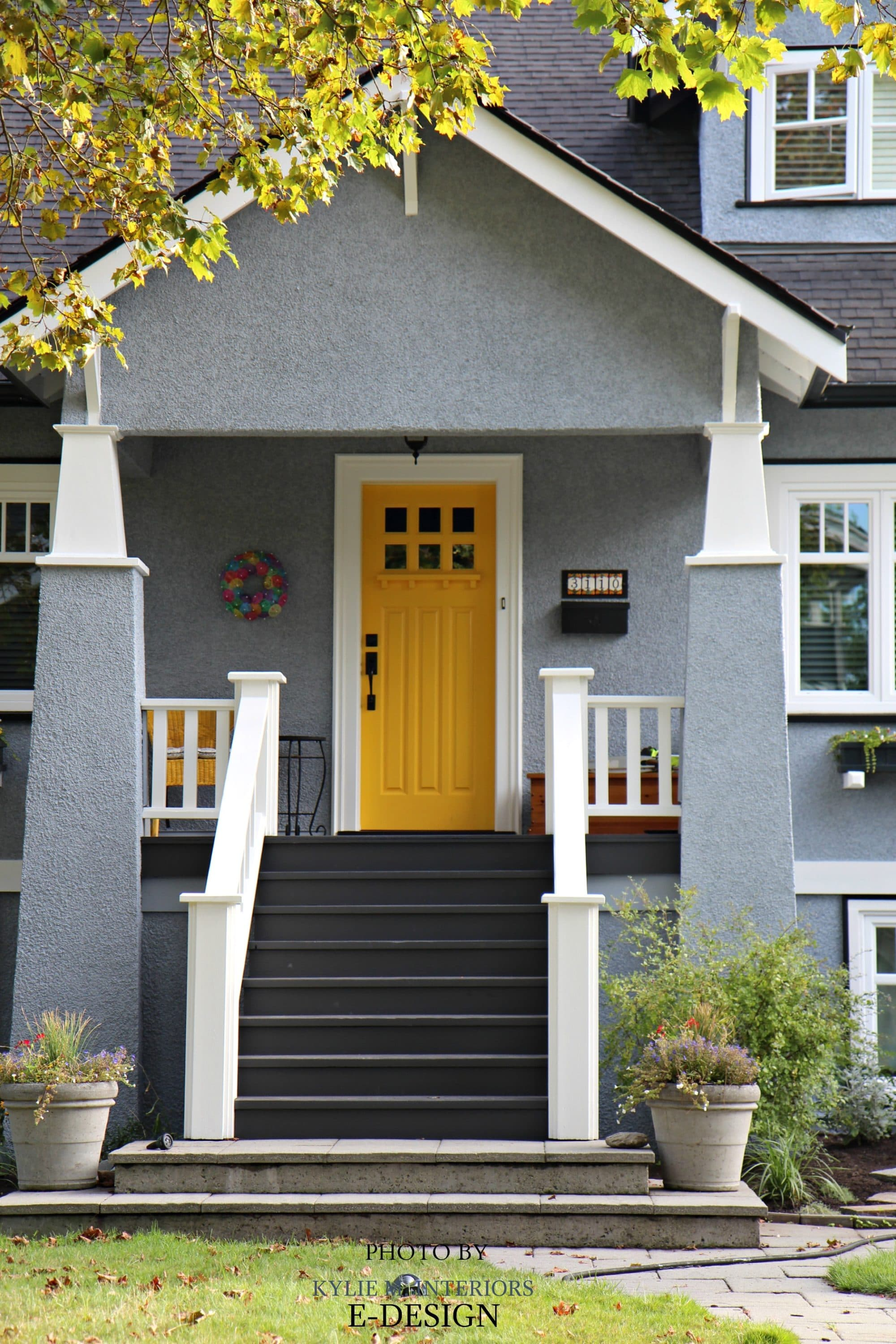 white front door yellow house. exterior palette similar to sherwin williams rayo de sol yellow front door network gray siding benjamin moore kendall charcoal stairs white trim house b