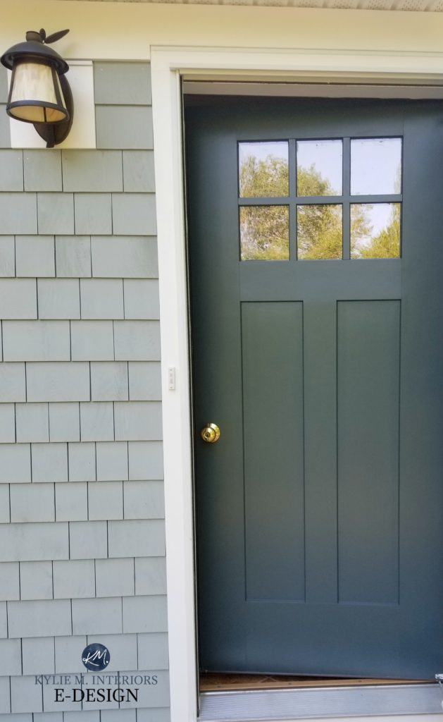 Front door Craftsman style painted Benjamin Moore Dark Pewter, Maibec Balsam stained shingles. Kylie M interiors Edesign, online paint color consulting