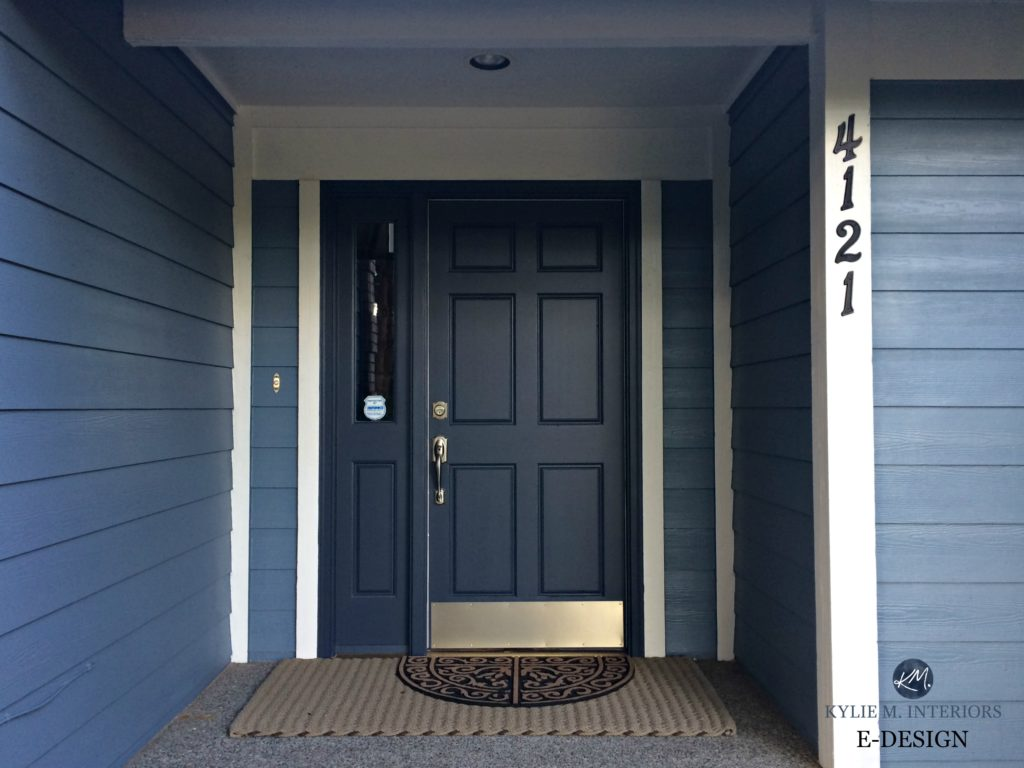 Front door painted Benjamin Moore Hale Navy, blue siding and white trim.  Best paint