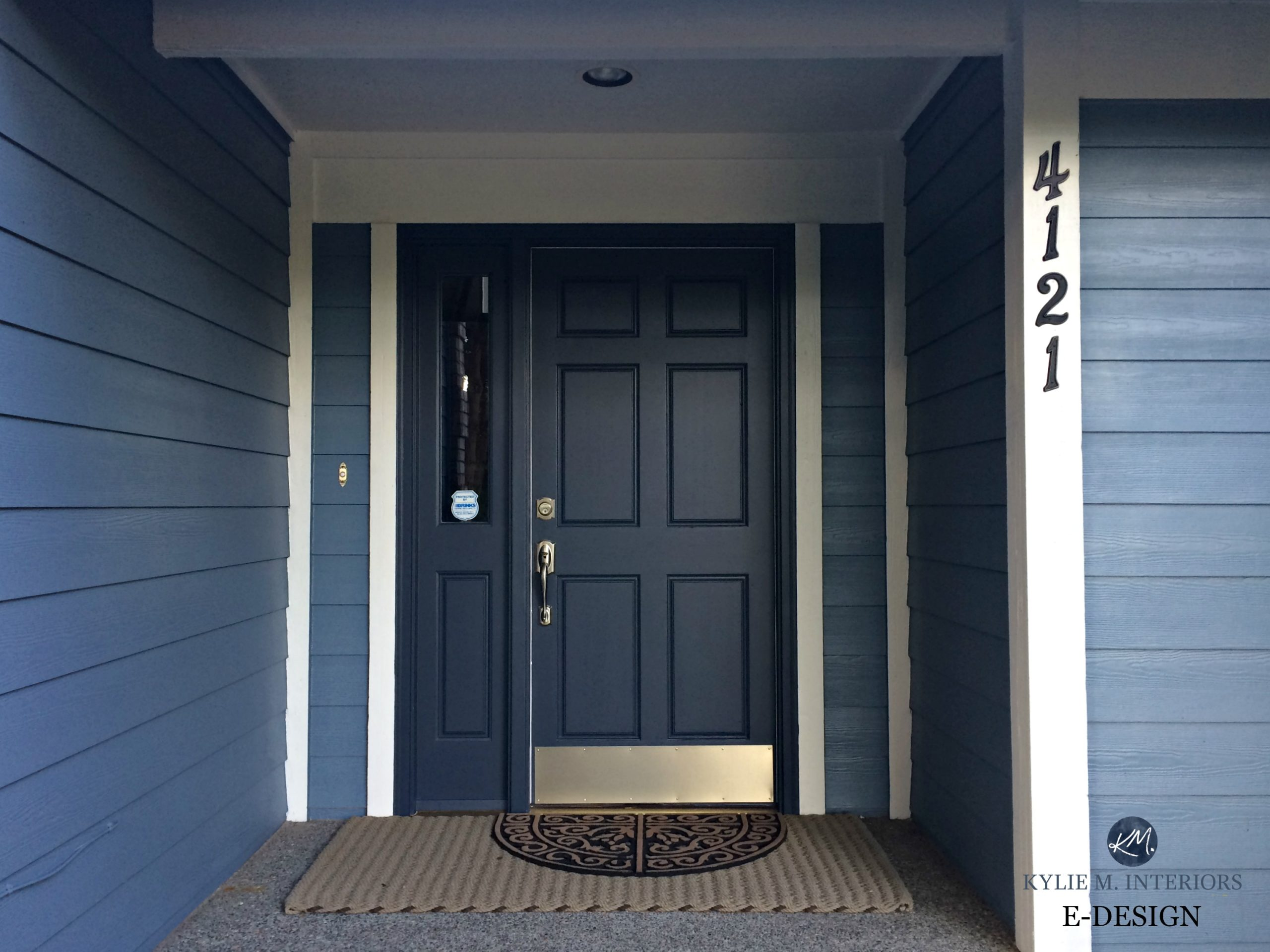 Front door painted Benjamin Moore Hale Navy, blue siding and white ...