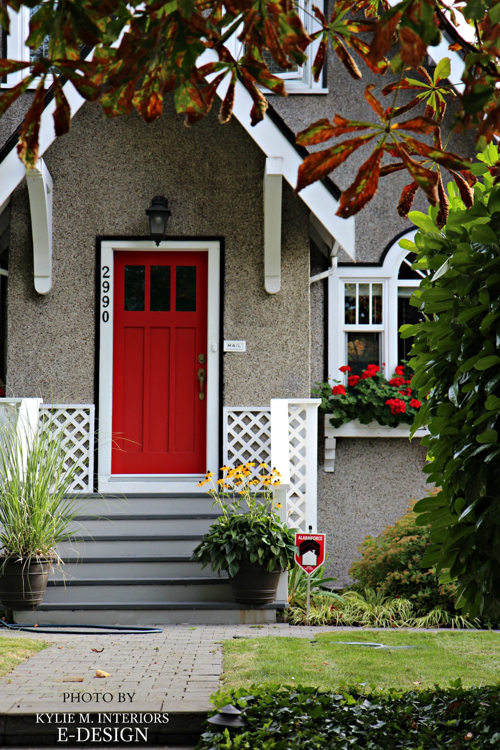 Red Front Door White Trim Black Accent Stucco Siding
