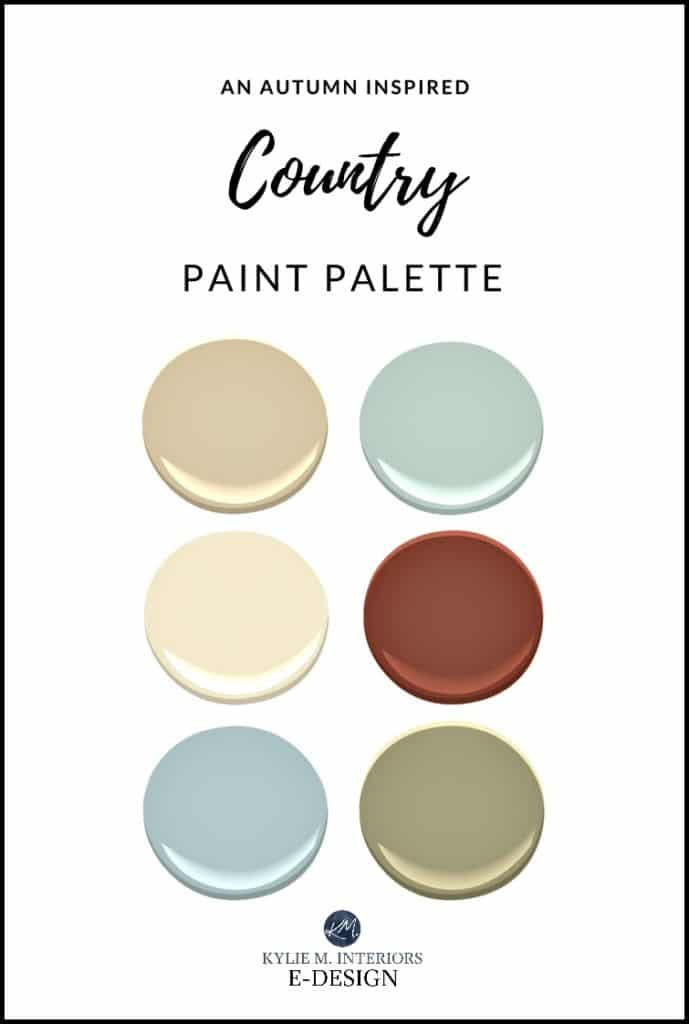 Autumn or fall paint palette ideas. Benjamin Moore. Kylie M Interiors E-design, colour expert virtual