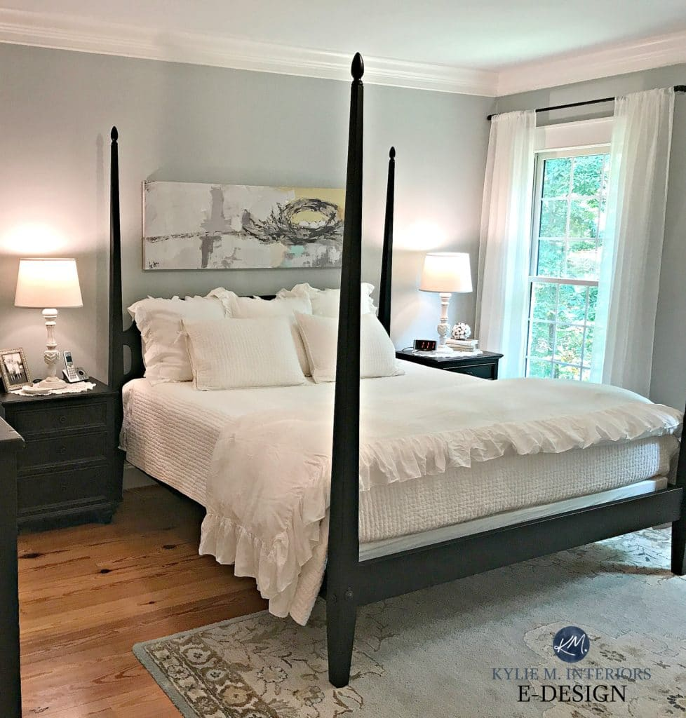 Benjamin Moore Arctic Gray, best blue paint colour. Master Bedroom, dark wood fruniture, pine flooring, white bed linens. Kylie M E-design, online colour expert