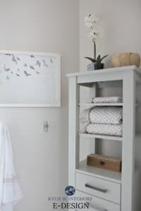Benjamin Moore Classic Gray on east facing wall in bathroom. Kylie M E-design