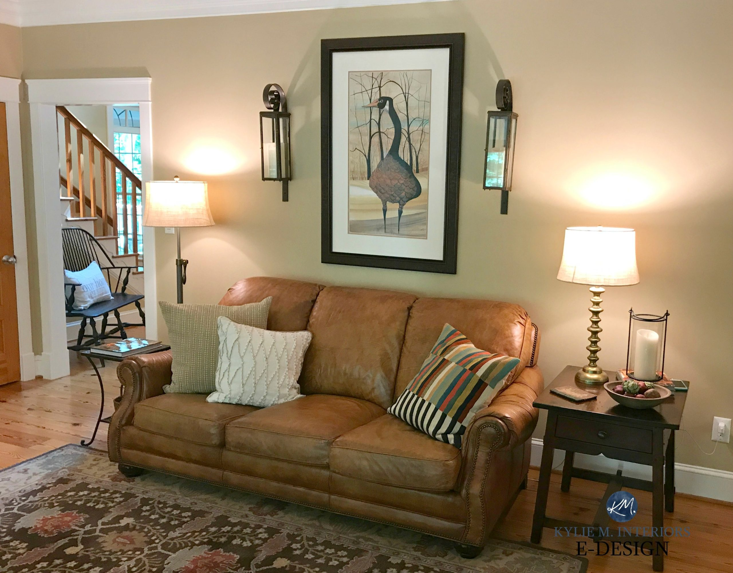 Benjamin Moore Lenox Tan, Farmhouse Country Style Living Room, Brown  Leather Couch. Pine Floor And Door. Kylie M E Design And Virtual, Online  Color ... Part 41