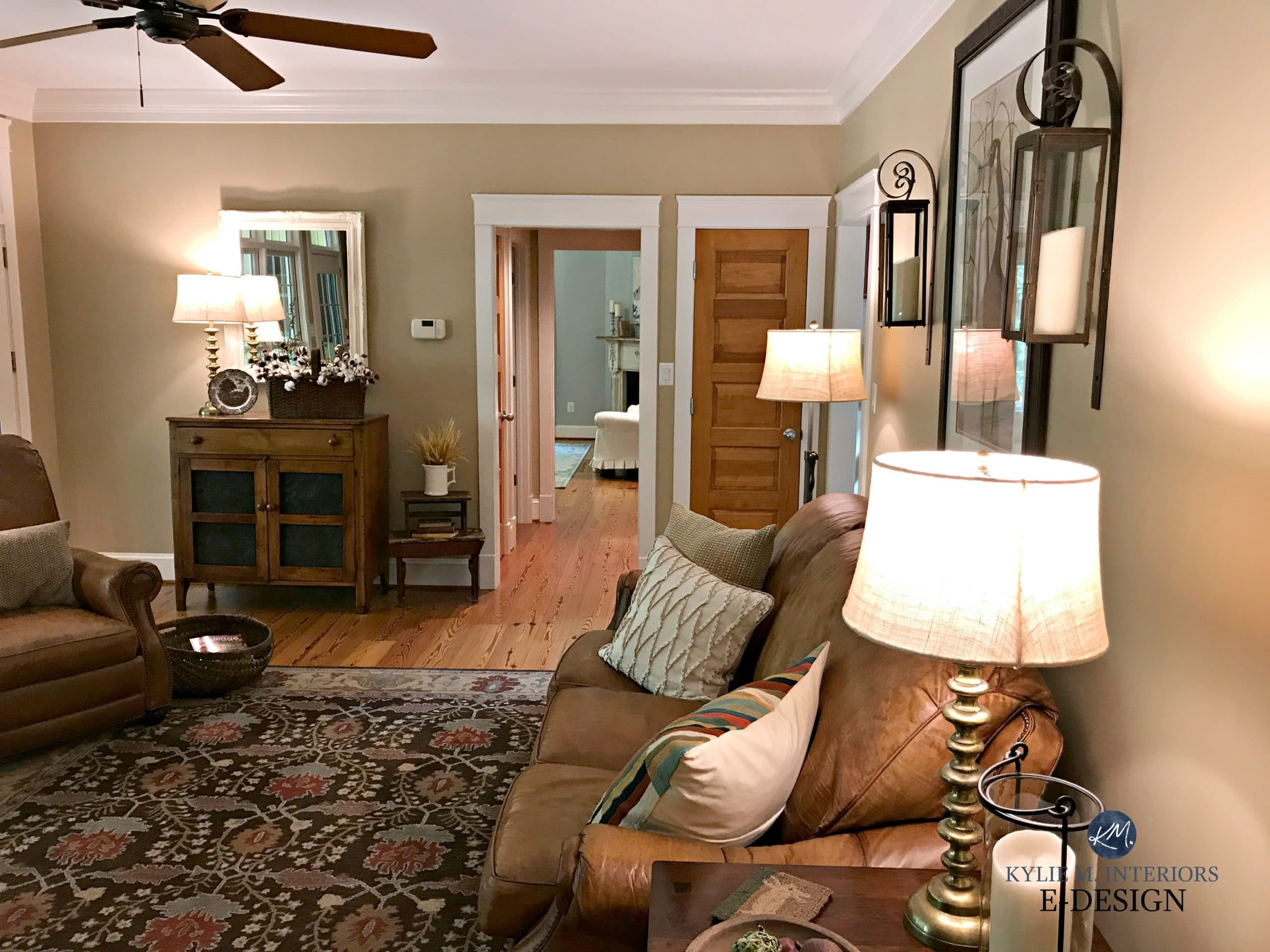 Benjamin Moore Lenox Tan In Farmhouse Country Style Living Room. Brown  Leather Furniture, Pine Wood Floor, Doors. Kylie M E Design, Virtual And  Online ...