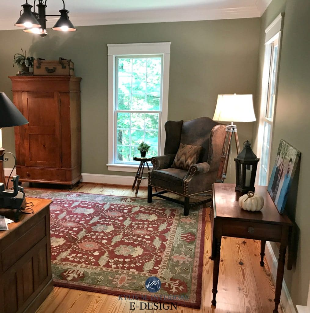 Benjamin Moore Nantucket Gray, a green paint colour. Home office with red and brown accents, country style. Kylie M E-design, virtul and online colour expert