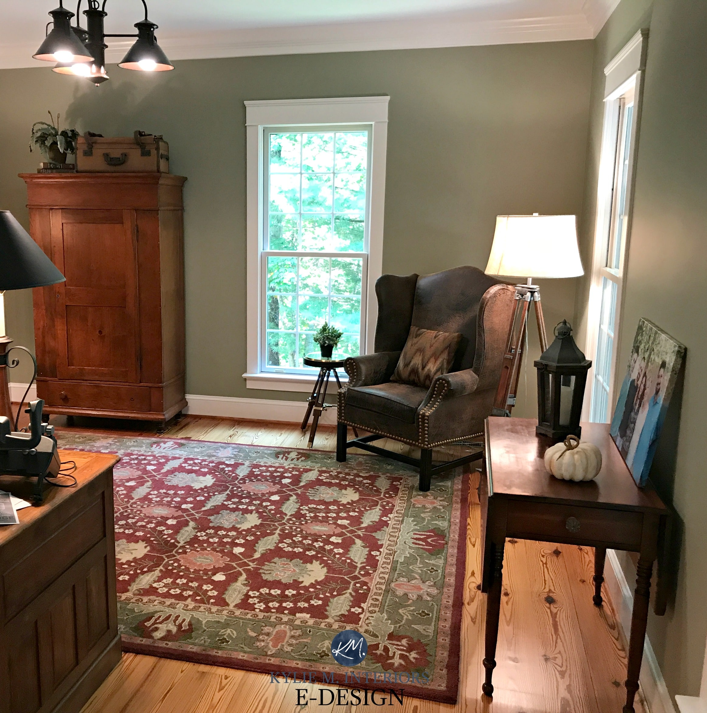 Benjamin Moore Nantucket Gray, A Green Paint Colour. Home Office With Red  And Brown Accents, Country Style. Kylie M E Design, Virtul And Online Colour  ...