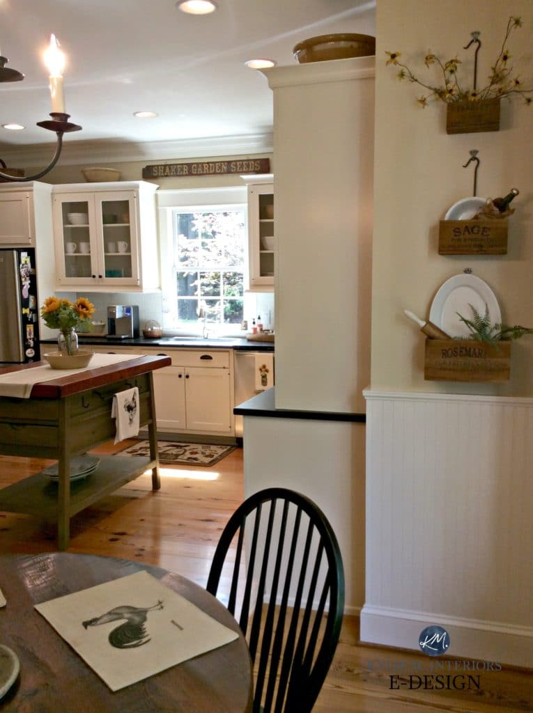 Benjamin Moore Powell Buff in country farmhouse kitchen. Kylie M E-design