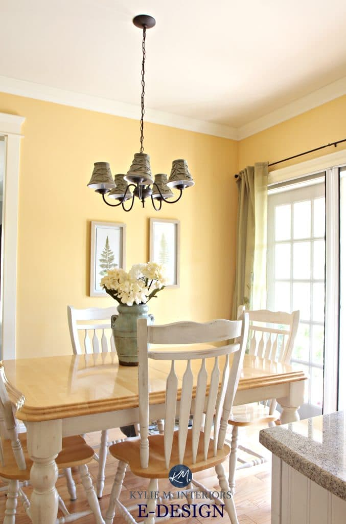 Benjamin Moore Suntan Yellow, eating nook in country style kitchen. Kylie M E-design and paint colour expert online