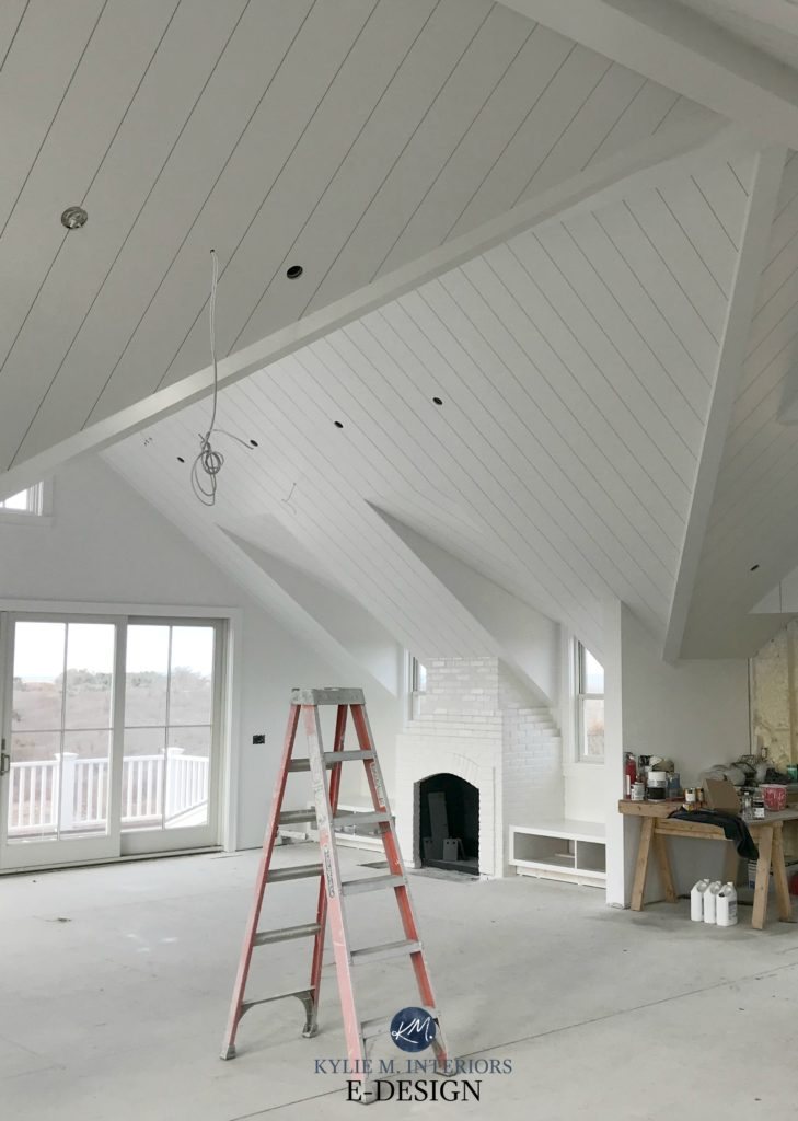 Benjamin Moore White Open Layout Loft Style Room With Shiplap Ceiling And Painted Brick