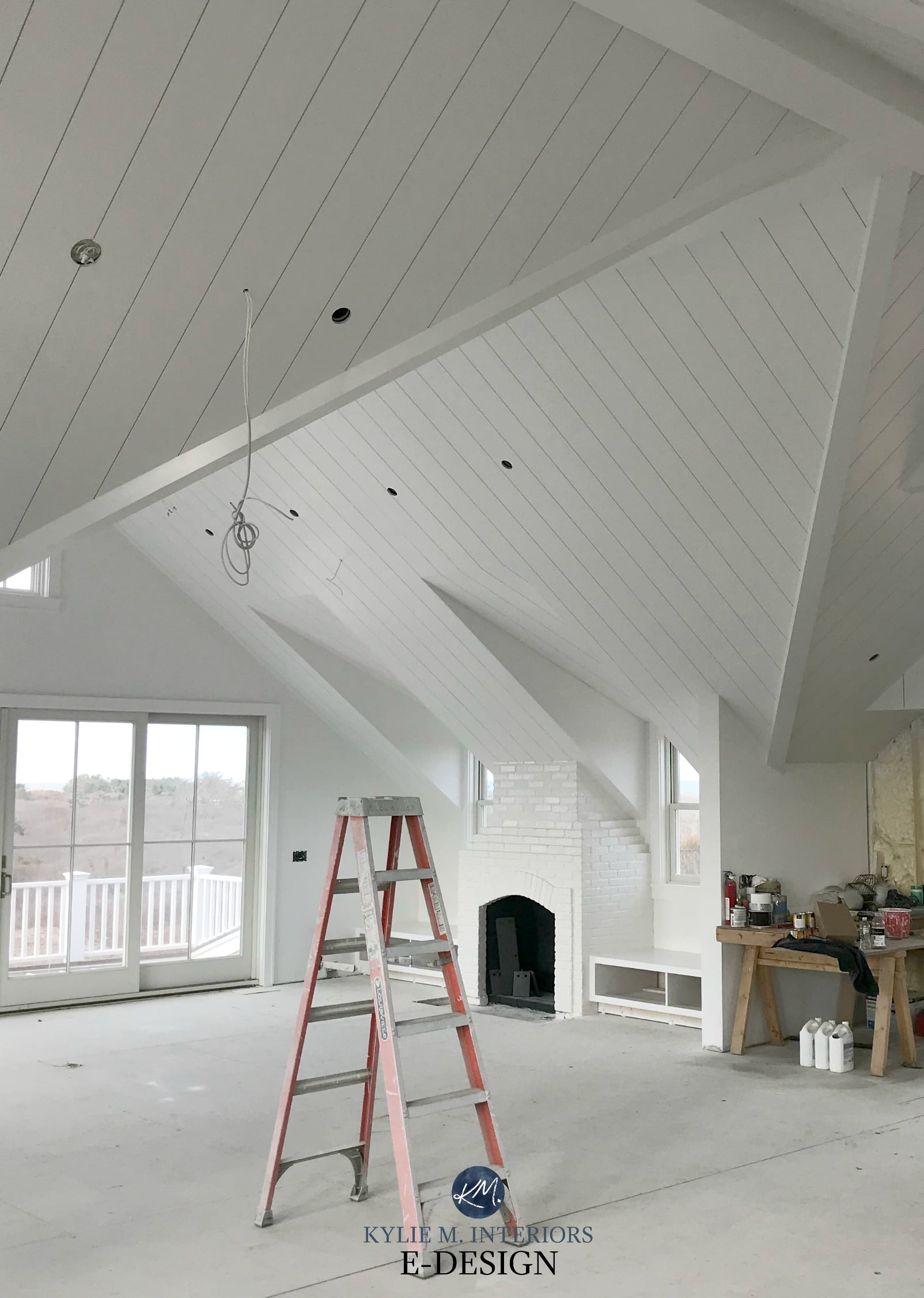 Benjamin Moore White Open Layout Loft Style Room With Shiplap Ceiling And Painted Brick Fireplace Kylie M Interiors Edesign Online Paint Color Consulting