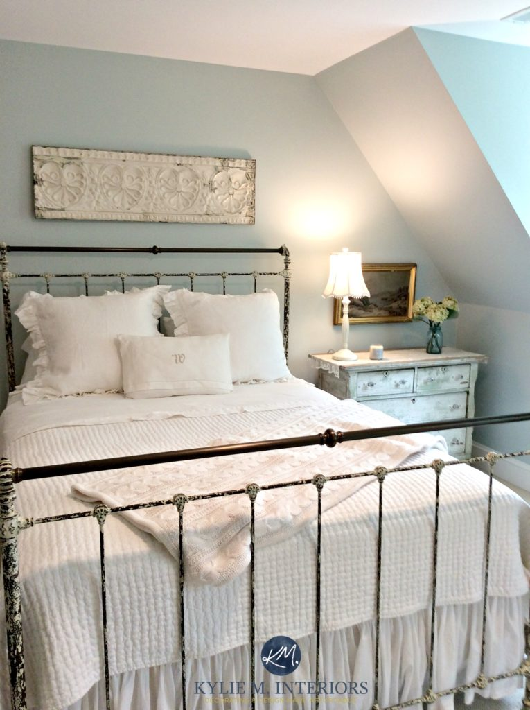 Benjamin Moore Woodlawn Blue, best blue paint colour. Guest bedroom. antique furniture. Kylie M Interiors E-decor, design and ONline Colour Consulting services