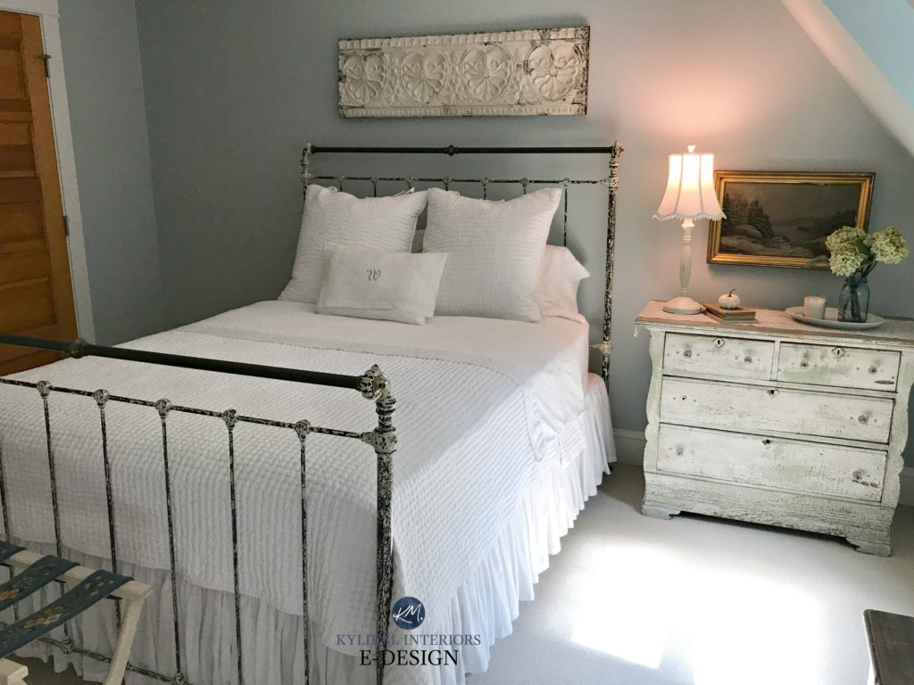 Benjamin Moore Woodlawn Blue, guest bedroom, country farmhouse style, white linens, metal bed frame. Kylie M E-design. Online colour consultant