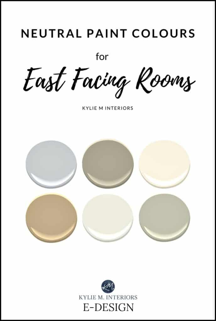 Best neutral gray and beige paint colours for east facing room exposure. Sherwin and Benjamin. Kylie M E-design