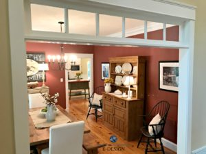 Farmhouse country dining room painted Benjamin Moore Onondaga Clay, red paint colour. Pine wood flooring and furniture. Kylie M Online Colour Consulting and E-design