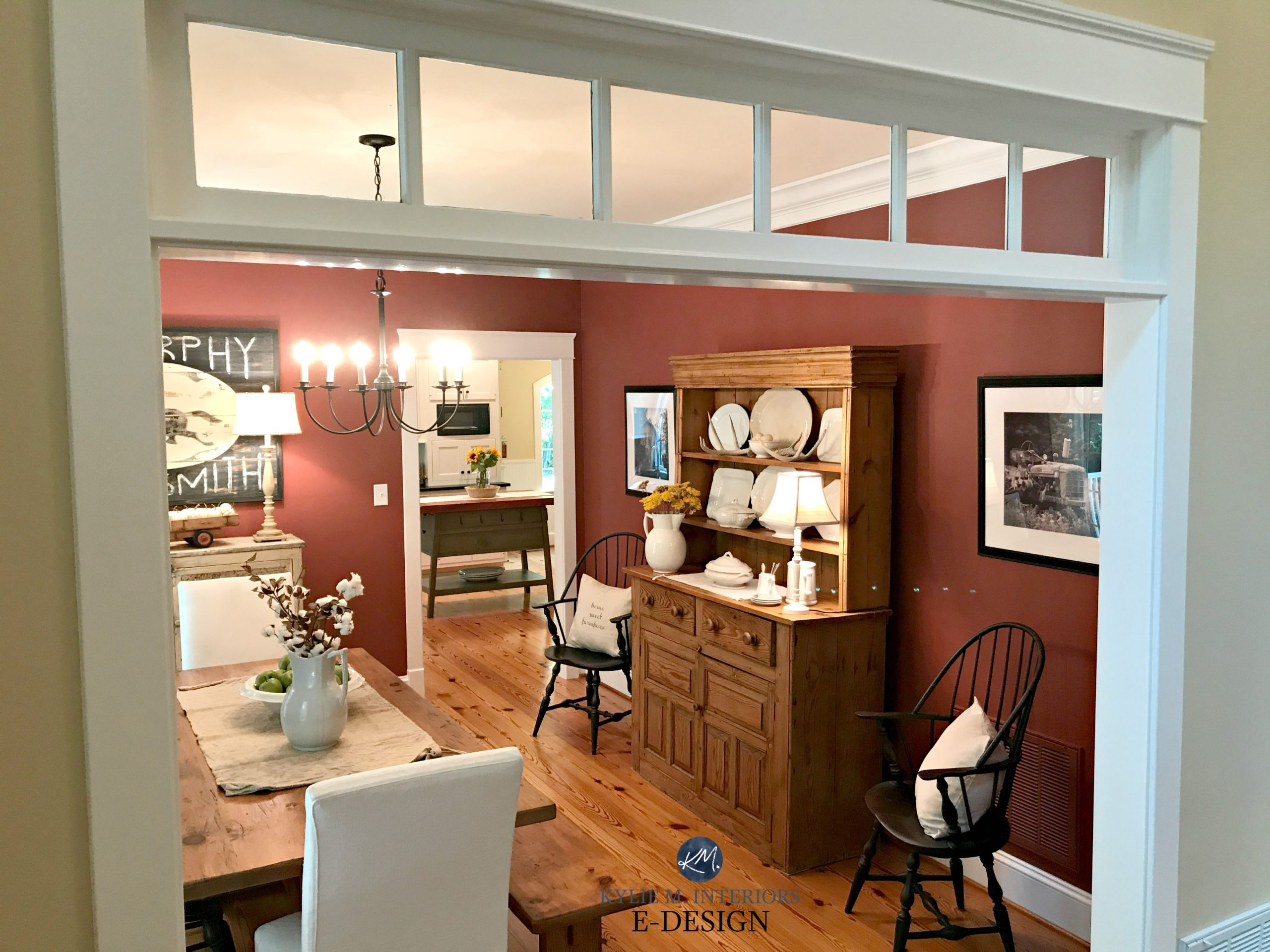 Farmhouse Country Dining Room Painted Benjamin Moore Onondaga Clay Red Paint Colour Pine Wood Flooring And Furniture Kylie M Online Consulting