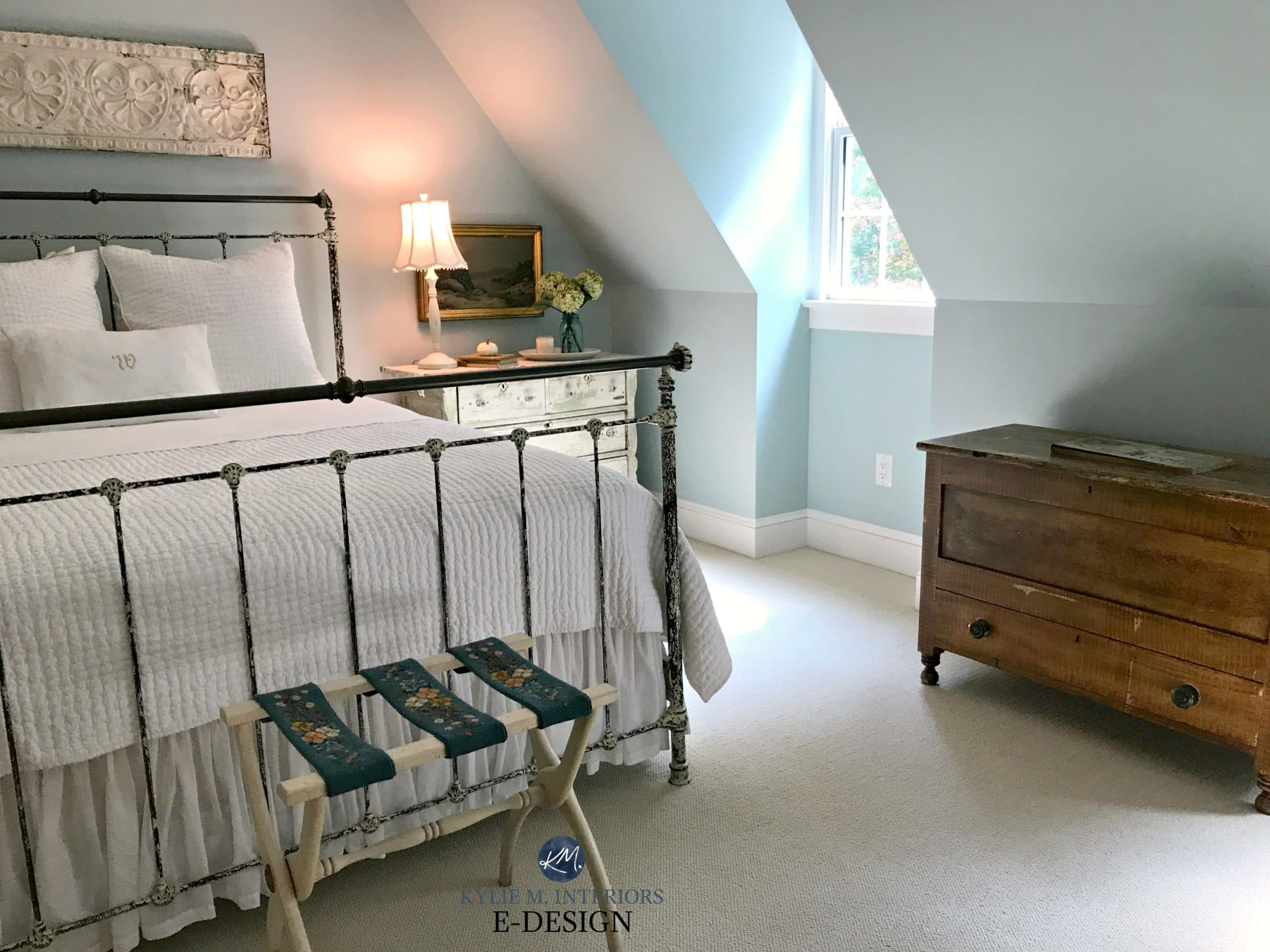 Guest Bedroom Benjamin Moore Woodlawn Blue With Farmhouse Country Bed And Decor Kylie M E Design Virtual Online Colour Consulting
