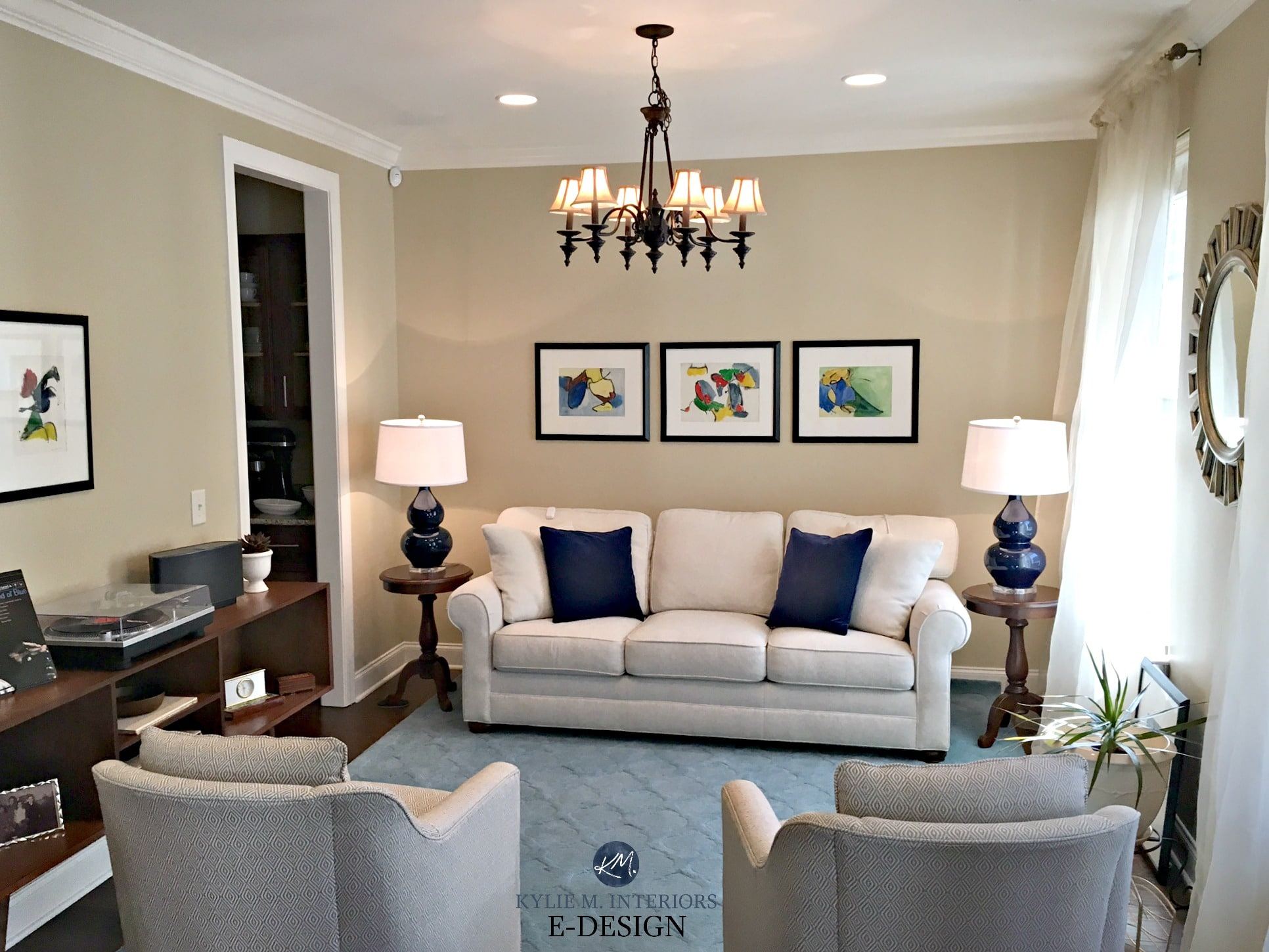 Home staging in living room with balance, navy blue accents ...