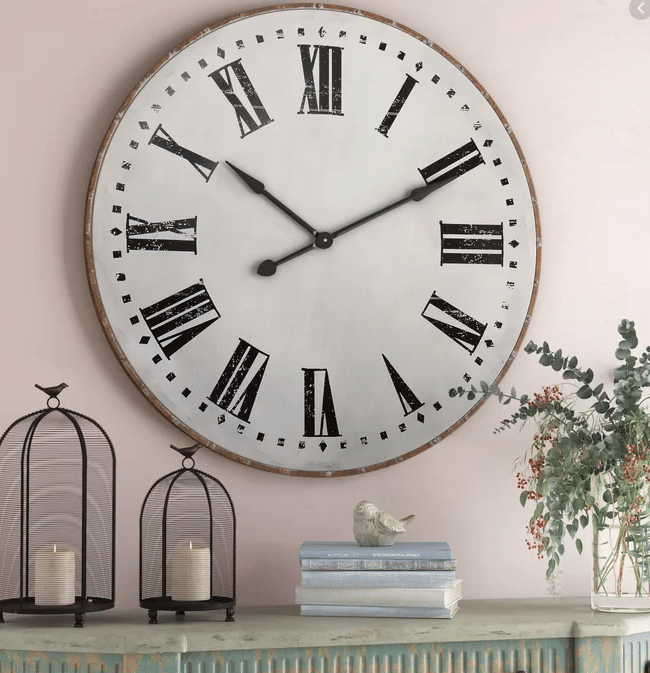 Nowata oversized large farmhouse country style large wall clock. Wayfair. Kylie M Interiors Edesign, edecor and online shopping