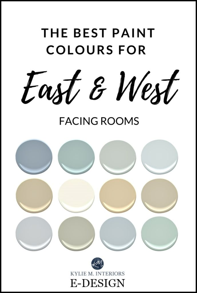 The best paint colour for east, west facing, exposure rooms. Benjamin Moore, Sherwin Williams. Kylie M E-design
