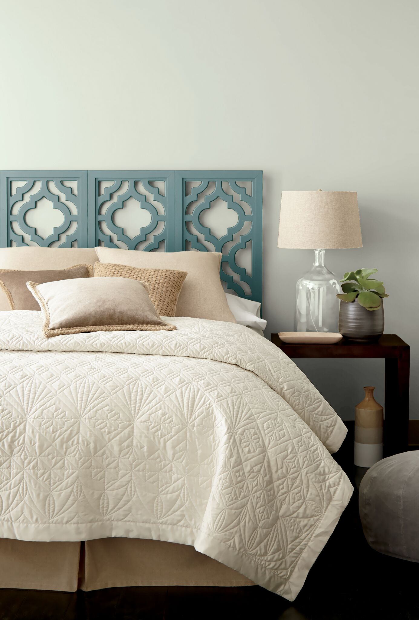 Gray Paint Bedroom. Behr In the MOment  a blue green gray paint colour on painted bedroom headboard Kylie M Interiors blog Photo via
