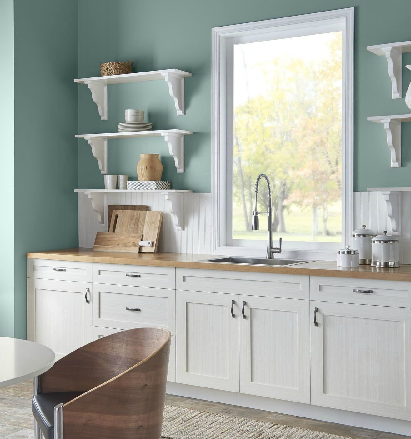 Behr In The Moment In A Kitchen With White Country Style Cabinets