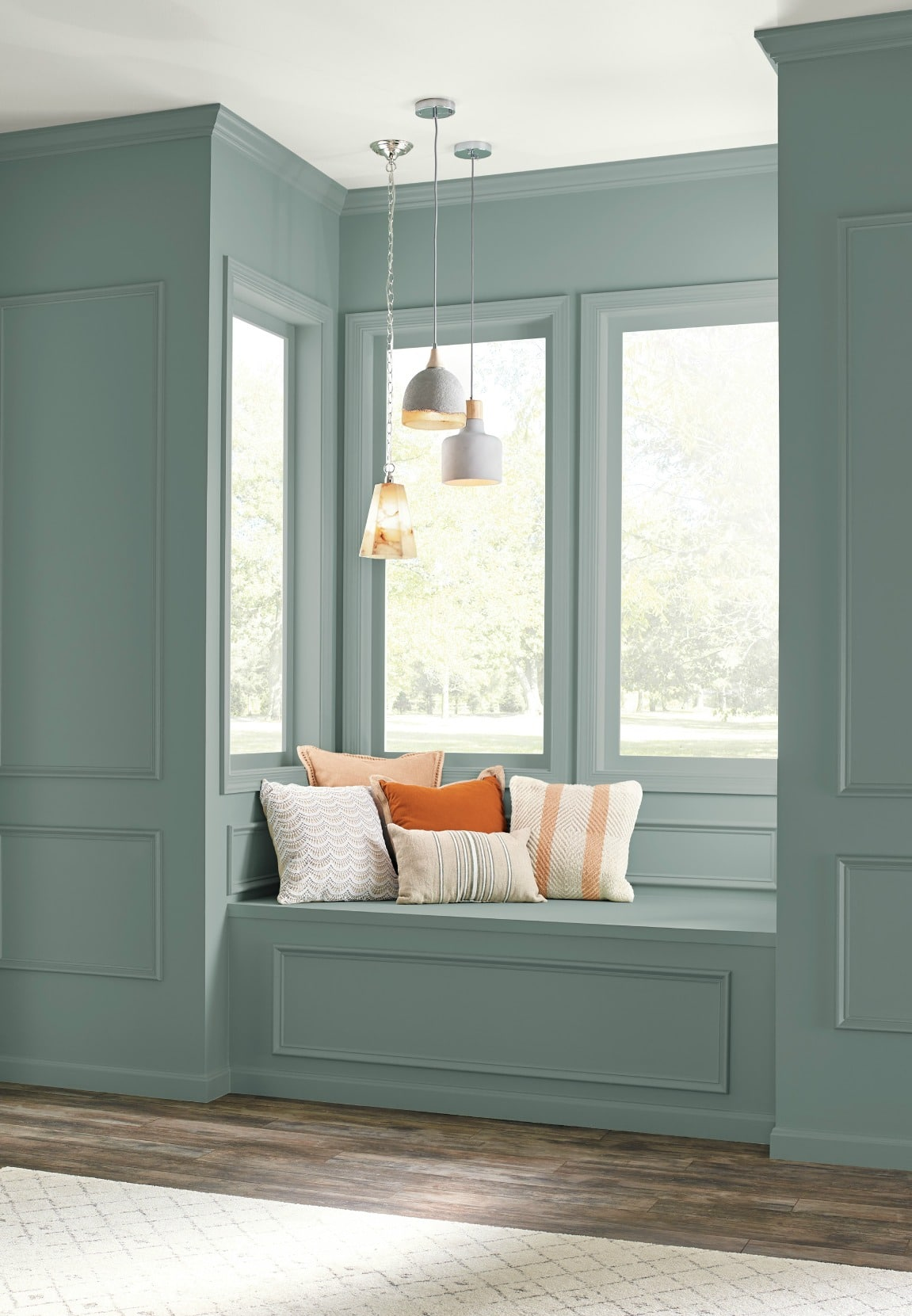 Behr in the Moment in a reading nook on painted wall panelling. Kylie M E-decor, paint expert blog, photo via Behr