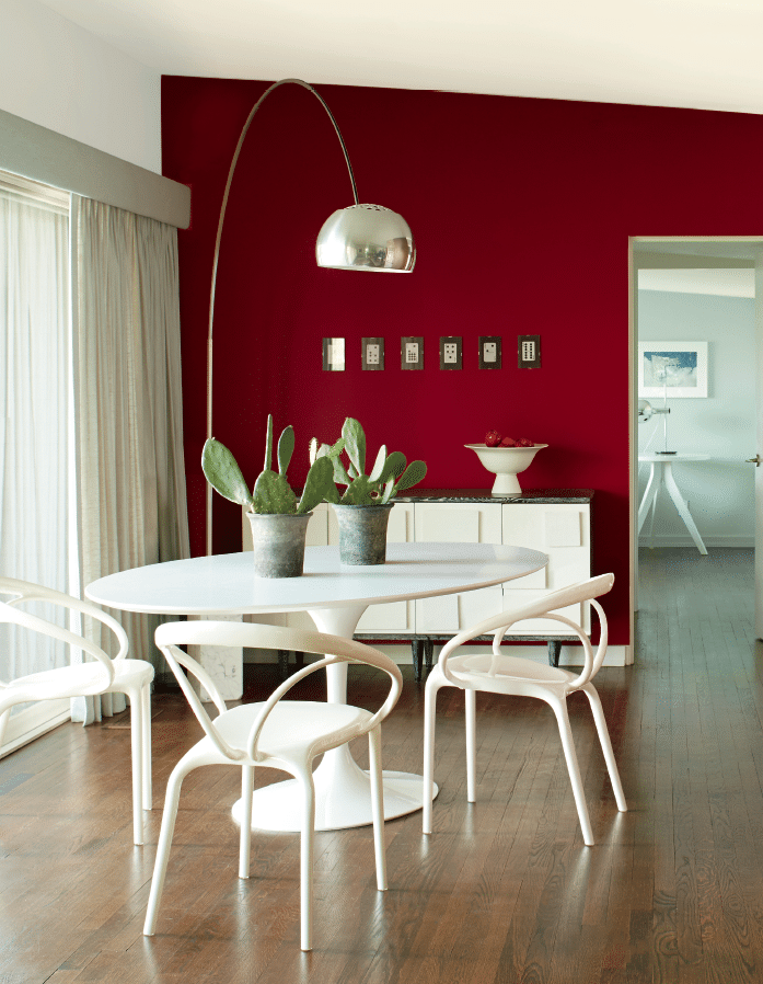 Red Paint Wall Benjamin Moore colour of the year Caliente, red paint colour on feature wall,  dining room. Via BM, info via Kylie M E-design expert advice