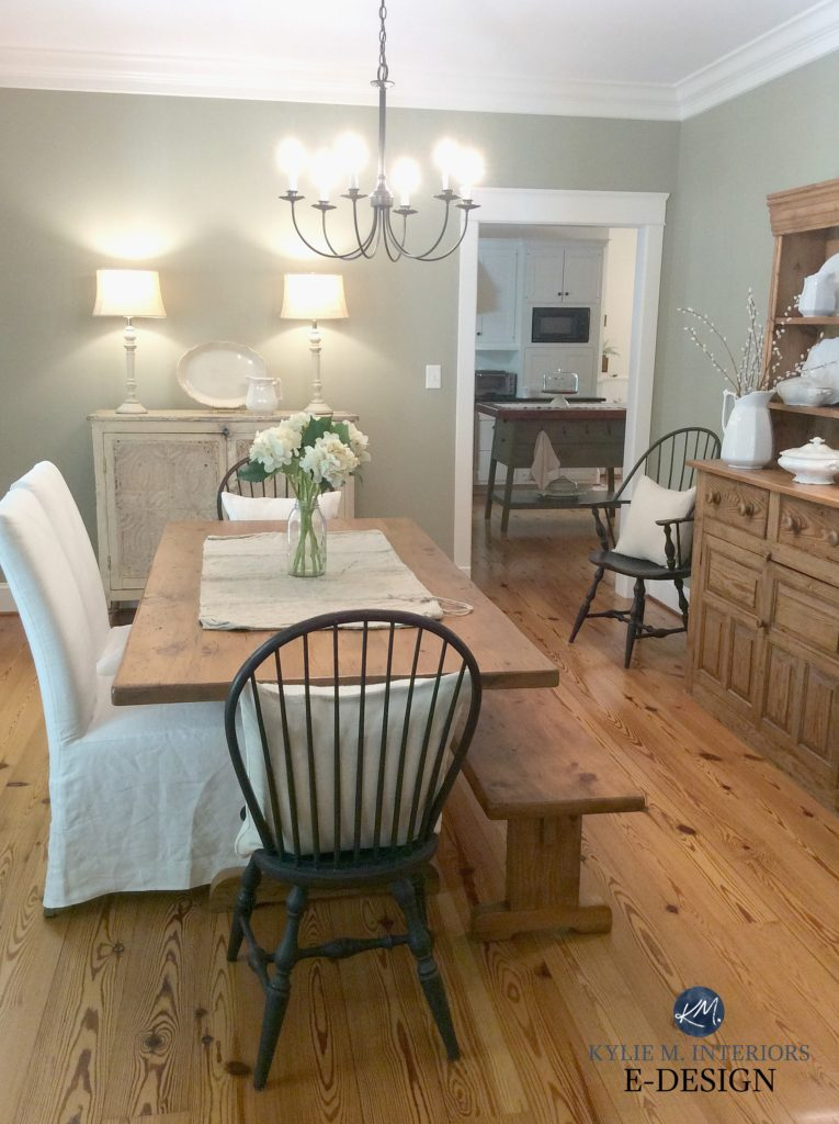 Farmhouse country style dining room with Nantucket Gray, a gray green paint colour and rustic woods, pine and oak. Kylie M Interiors Edesign, online paint colour consulting blog