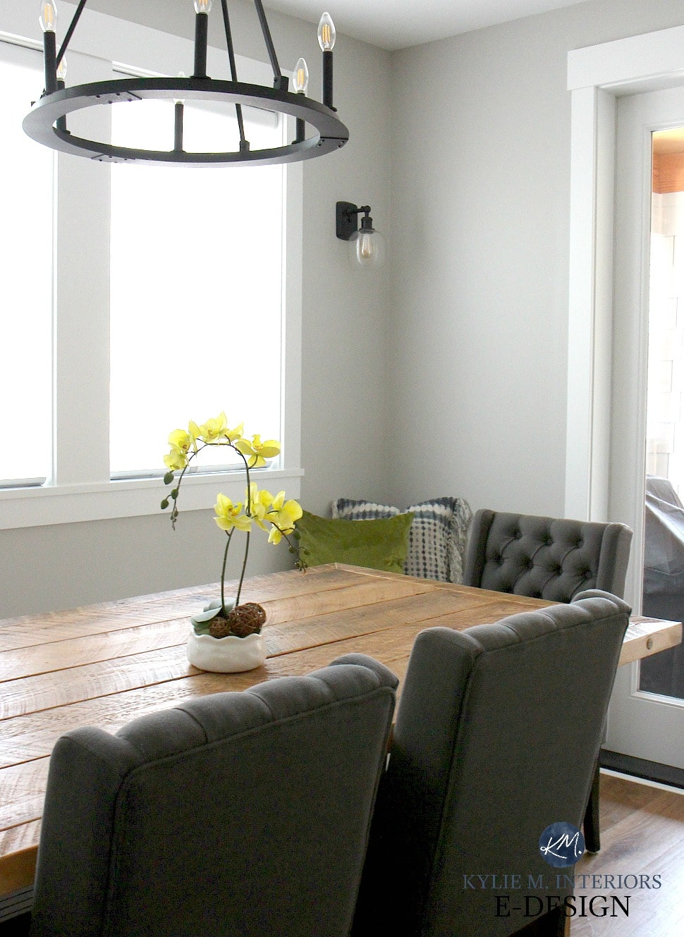 Farmhouse wood diy dining table, gray upholstered chairs ...