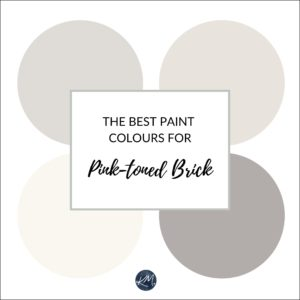 The best paint colours and ideas to update a red pink brick fireplace. Kylie M Interiors Edesign, online paint colour consultant, virtual advice. Expert in Sherwin and Benjamin