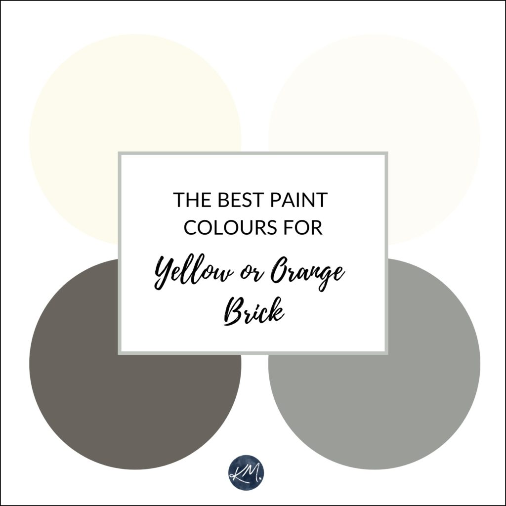 The best paint colours and ideas to update a yellow or orange brick fireplace. Kylie M Interiors Edesign, online paint colour consultant, virtual advice