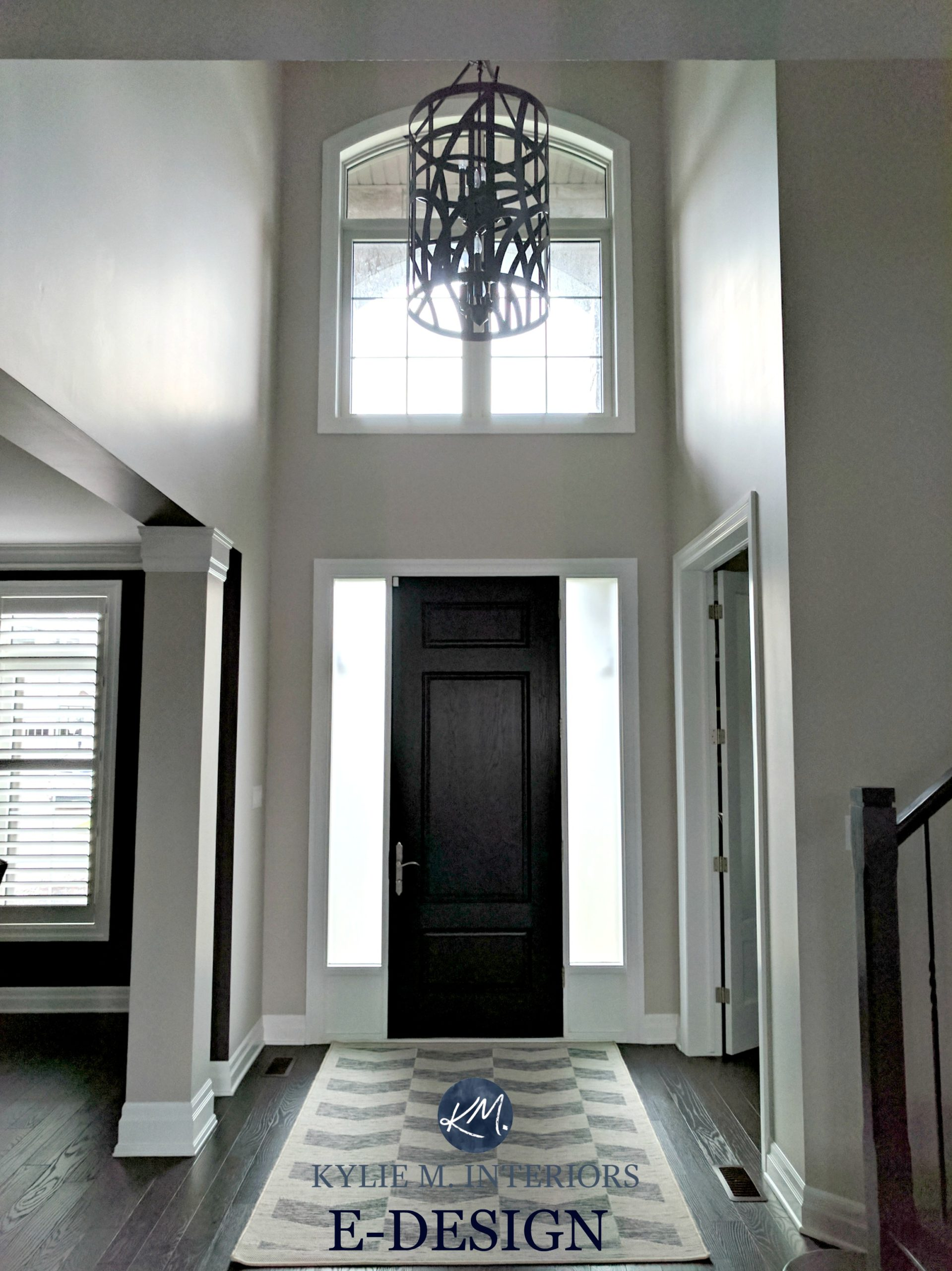 Benjamin Moore Collingwood In 2 Storey Entryway Or Foyer With Dark Wood Door  And White Trim. Kylie M Interiors E Design And Online Color Consulting