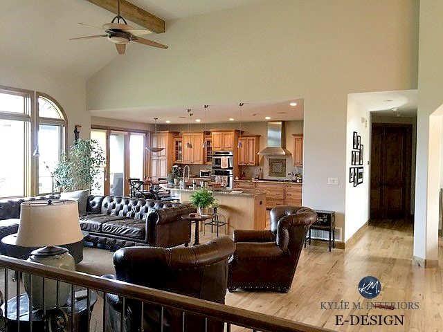 Sherwin Williams Accessible Beige in open concept layout. Vaulted 2 storey ceilings in mountain retreat with leather and light wood flooring. Kylie M INteriors E-design