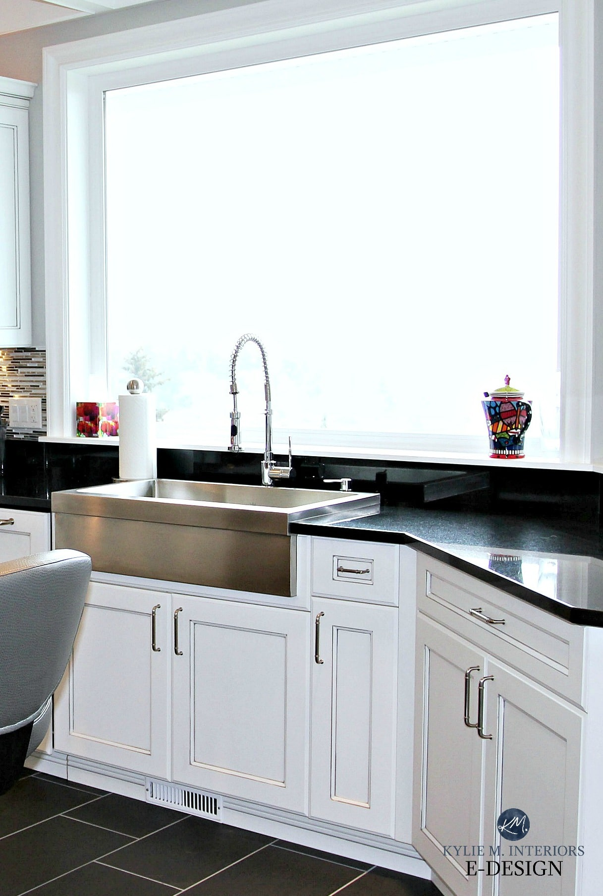 White Glazed Cabinets Black Granite Stainless Farmhouse Sink