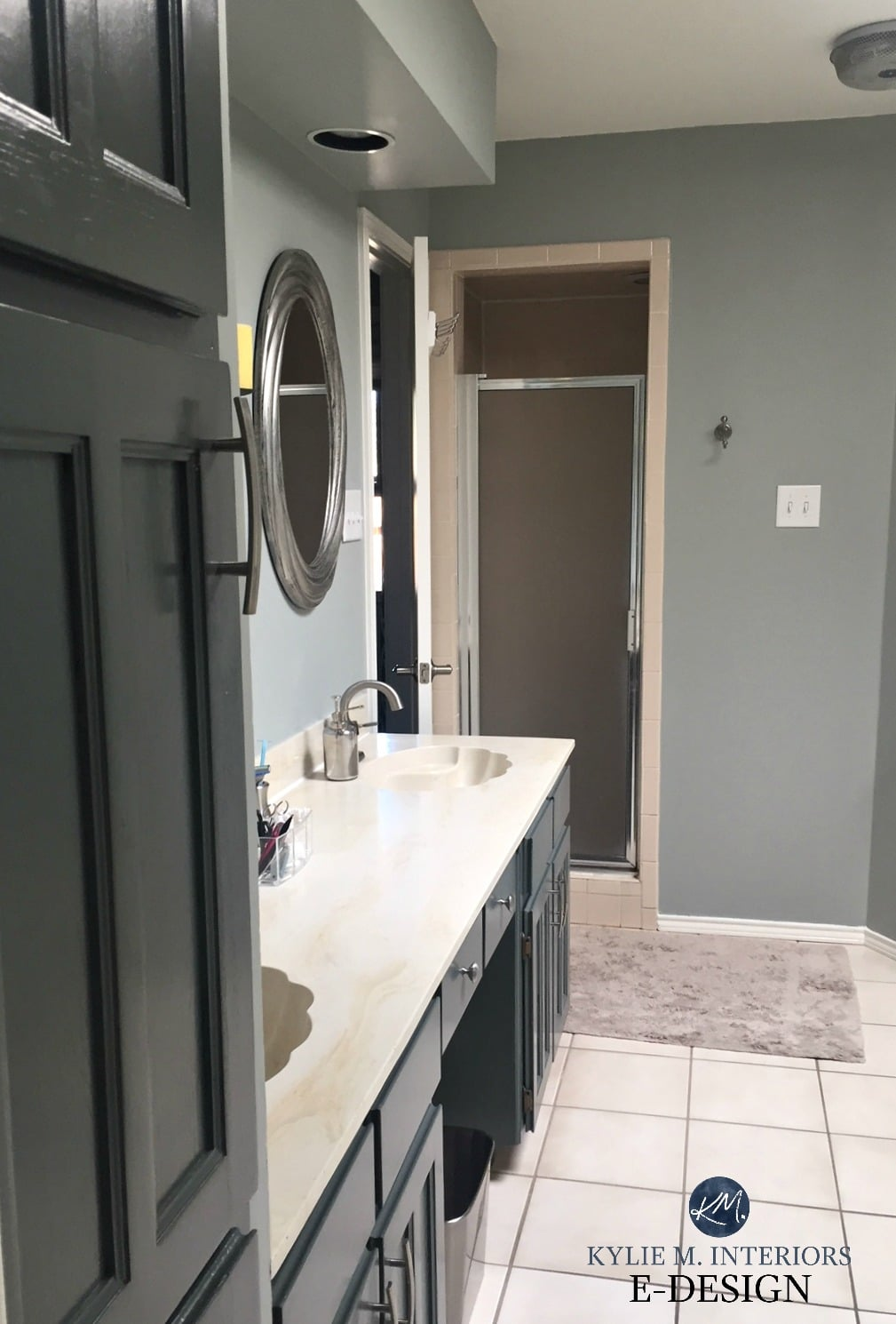 Bathroom Magnetic Gray, painted oak cabinets. Almond bone fixtures ...