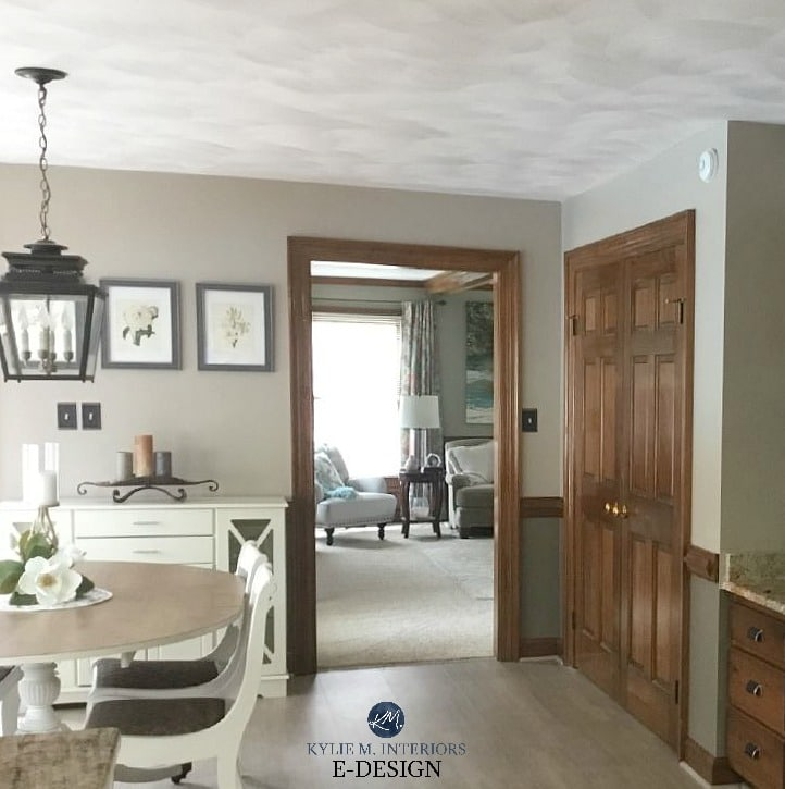 Best paint colours with dark wood trim, Sherwin Williams Balanced Beige and Warm Stone. Kylie M Interiors Edesign, online paint color consulting