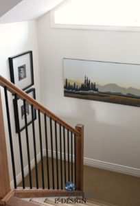LRV, light reflectance value in stairwell. Kylie M E-designs, Ken Kirkby artwork. Sherwin Williams Creamy